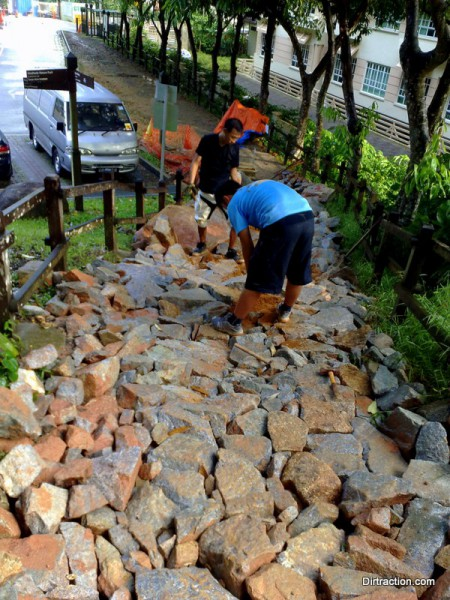 Bukit Timah Trail Head - rock armored in place after a 7hrs effort.