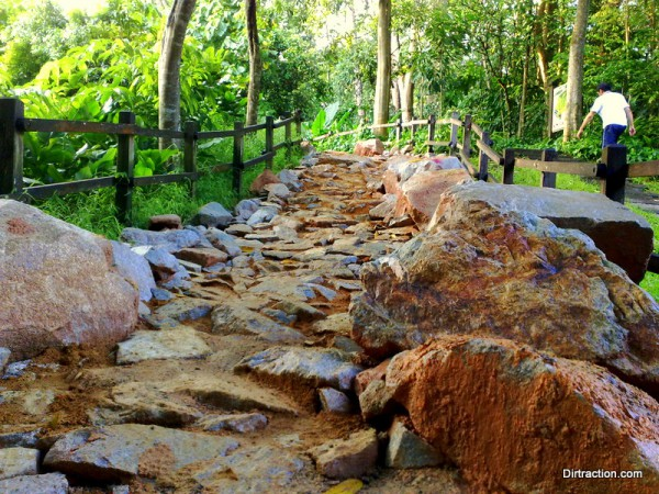 Bukit Timah Trail Head - the new trailhead with sentry rocks guiding the ride up an armored slope.