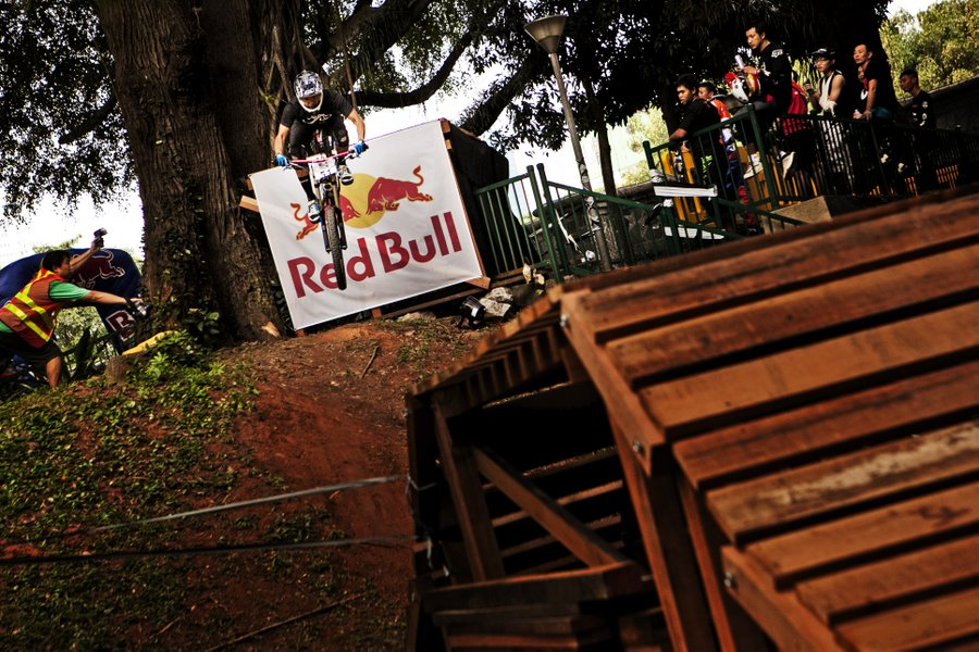 Competitors in action at the Red Bull Dark Knights at Pearl's Hill City Park in Singapore, Singapore on May 18th, 2013